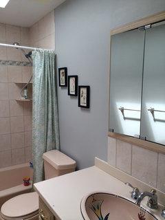 Peach And Gray Bathroom