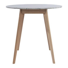 Maklaine 31-inch Round Marble Dining Table In Oak And White