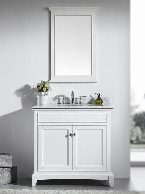 36 Inch White Bathroom Vanity Set With White Carrera Marble Top   Bathroom  Vanities And Sink