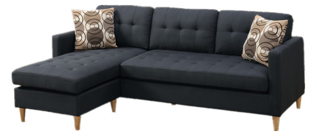 2 Piece Reversible Sectional Sofa Chaise Set With 2 Accent Pillows, Black  Fabric