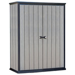 Keter - Keter High Store Vertical Outdoor Resin Storage Shed - The Keter High Store shed's compact footprint allows for space-saving placement in small areas, it's perfect for homes with small yards or patios or for those in need of just a smaller storage shed. With its thick, rib-reinforced wall panels the High Store shed provides reliable outdoor storage. The robust wide double doors will give you easy access to your long handle tools, lawn care items, gardening equipment, kids' outdoor toys or anything that you have stored in it.