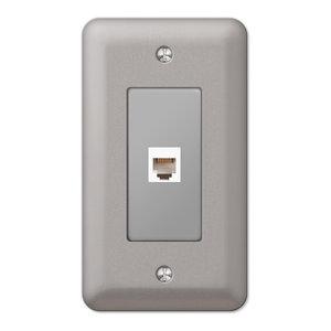 Devon Steel Phone Jack Wall Plate, Brushed Nickel