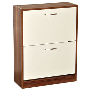 Contemporary Stylish Shoe Cabinet in MDF With 2 Compartments, Walnut/White