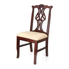 Chippendale Chairs, Dark Mahogany Finish, Ivory Seat
