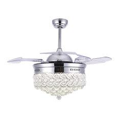 "42"" Modern Crystal Ceiling Fan with Lights, Retractable Chandelier Fan, Chrome,"