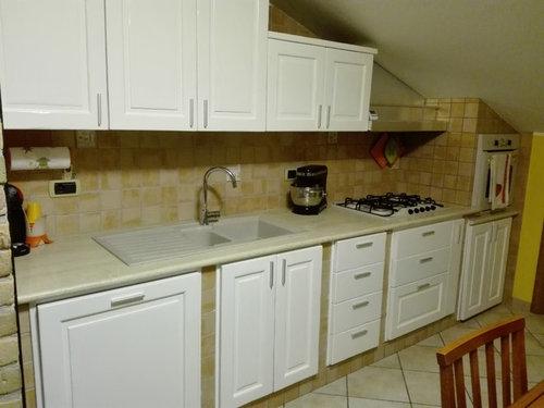 La cucina prima e dopo bianca