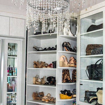 Closet Chandelier and Rotating Shoe Storage