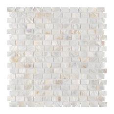 Seashell Subway Mosaic Wall Tile, White