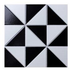 "10.88""x10.88"" Tri Super Multi Windmill Floor and Wall Tile, White/Black"