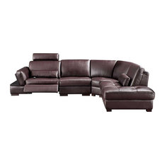 445 Modern Leather Sectional Sofa In Dark Brown Right Facing Chaise