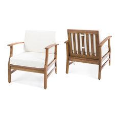 GDF Studio Pearl Outdoor Teak Club Chairs With Cushion, Cream, Set of 2