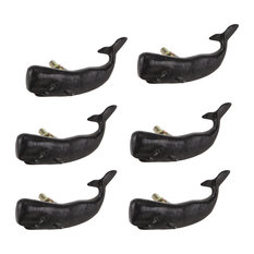 Set of 6 Black Painted Cast Iron Whale Drawer Pull Rustic Furniture Decor Knob