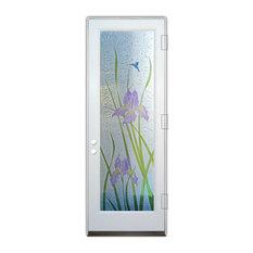 Glass Front Entry Door Sans Soucie Art Glass Iris 3D in Color