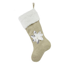 """Holiday 3D Poinsettia Christmas Hanging Stocking, 8""""x19"""", Silver and white"""