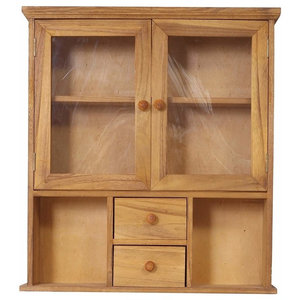Wall Display Unit, Brown Solid Wood With 2-Door, 2-Drawer and Shelves