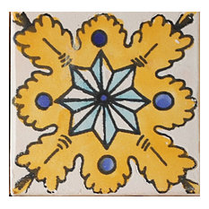 "Med Collection Tanit Hand Made Ceramic Tile, 4""x4"""