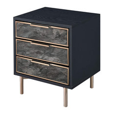 Unique Nightstand 3 Drawer With Faux Marble Front And Gold Handles