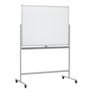 "Office Accents Easy Flip and Lock 48""x36"" Double Sided Magnetic Whiteboard, Gray"