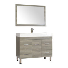 The Modern 39 inch Single Modern Bathroom Vanity in Gray without Mirror