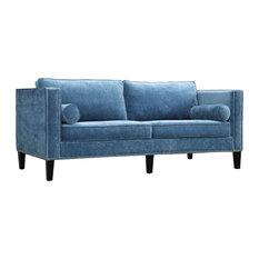 TOV Furniture   Cooper Velvet Sofa, Blue   Sofas