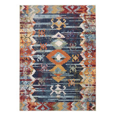 Faded Tribal Abstract Area Rug, Navy, 4'x6'