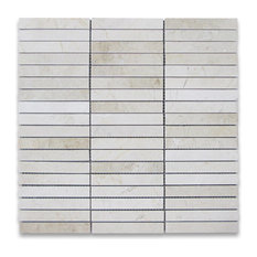 "12""x12"" Crema Marfil Rectangular Stacked Mosaic Polished, Chip Size: 5/8""x4"""