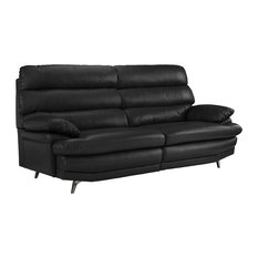 Sofamania   Classic Real Leather Fabric Sofa With Low Profile Frame, Silver  Legs, Black