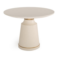Modrest Ariana Modern White Concrete And Brass Round Dining Table