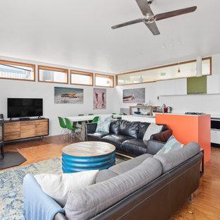 Immagine di un soggiorno minimal di medie dimensioni con pareti bianche, pavimento in compensato e stufa a legna