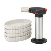 Chef's Tools Creme Brelee Set - Chef's Creme Brelee Torch With 4 Oval Ramekins