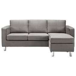 Modern Sectional Sofas Wren Microfiber Sectional Sofa, Gray