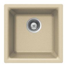 Houzer E-100U SAND Quartztone Series Granite Dual Mount Bar/Prep Sink, Sand