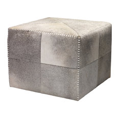 Grey Hide Ottoman, Large