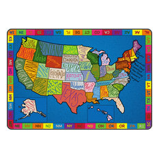 """My America Doodle Map  Rug, 8"""" x 12"""""""