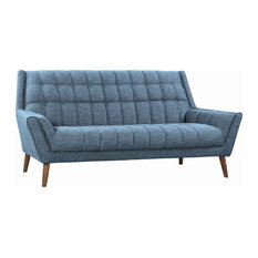 Fabric Sofa With Button Tufted Square Pattern And Splayed Legs Blue