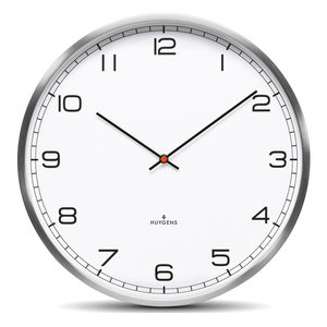 Huygens One25 White Arabic Wall Clock, Stainless Steel