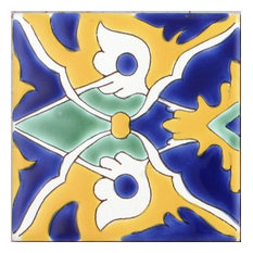 "Med Collection Patricia Hand Painted Ceramic Tile, 4""x4"""