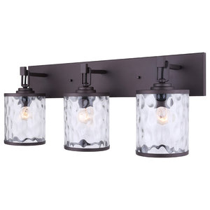 Canarm Cala 3-Light Vanity With Watermark Glass, Oil Rubbed Bronze, Easy Connect