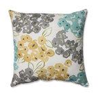 "Luxury Floral Pool 16.5"" Throw Pillow, Aqua/Gray/Yellow"
