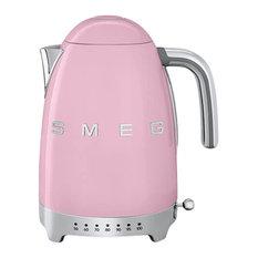 Smeg Variable Temperature Kettle, Pink, 3D Logo
