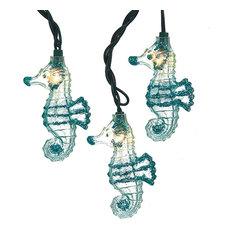 Kurt Adler Coastal Seahorses With Glitter String Lights 10 Piece Set Electric