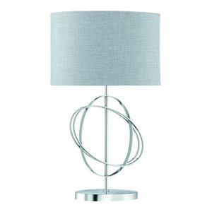Rings Modern Table Lamp, Chrome Base With Grey Sliver Linen Fabric Shade