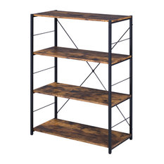 Tesadea Bookshelf, Rustic Oak and Black Finish