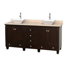 "Wyndham Collection - 72"" Acclaim Double Vanity, Ivory Marble Countertop and Pyra White Porcelain Sink - Bathroom Vanities and Sink Consoles"