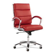 Alera   Alera Neratoli Series Mid Back Swivel/Tilt Chair, Red Leather,