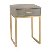 Faux Shagreen Side Table, Gray