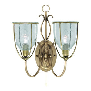 Silhouette Double Antique Brass Wall Light, Clear Seeded Glass
