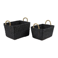 Rectangular Handwoven Black Water Hyacinth Wicker Baskets With Handles, Set of 2