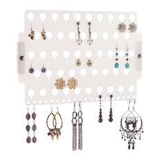 Angelynn's Jewelry Organizers - Wall Mount Earring Holder Jewelry Organizer Rack, Earring Angel, Frosted