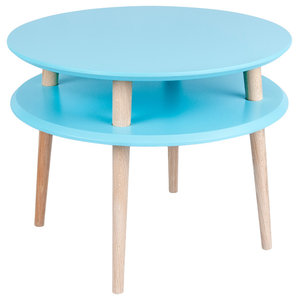 UFO Round Scandinavian Coffee Table, Dark Turquoise